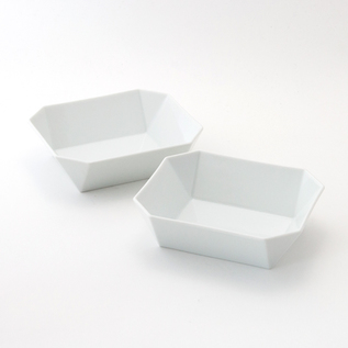 TY SQUARE BOWL PAIR WHITE