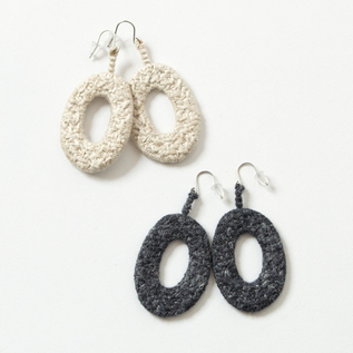 EARRING OVAL SILK LINEN