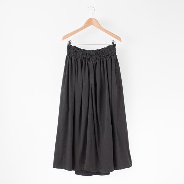 バンブーウール ギャザースカート(チャコール)