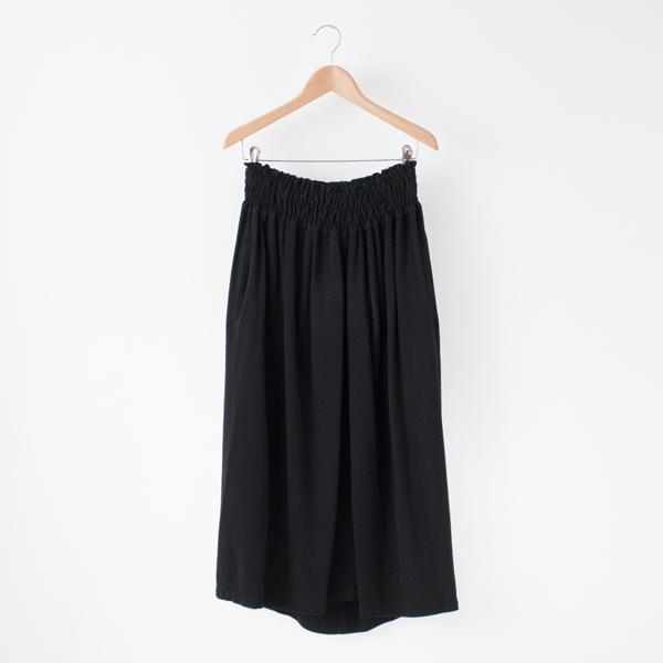 バンブーウール ギャザースカート(ブラック)