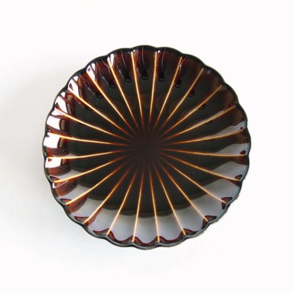 ぎやまん陶 四・五寸皿(漆ブラウン)