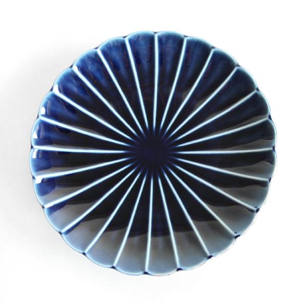 ぎやまん陶 七寸皿(茄子紺ブルー)