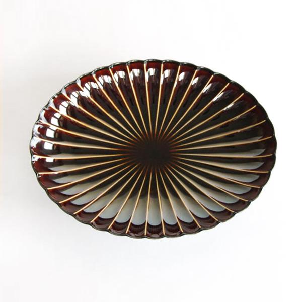 ぎやまん陶 楕円大皿(漆ブラウン)