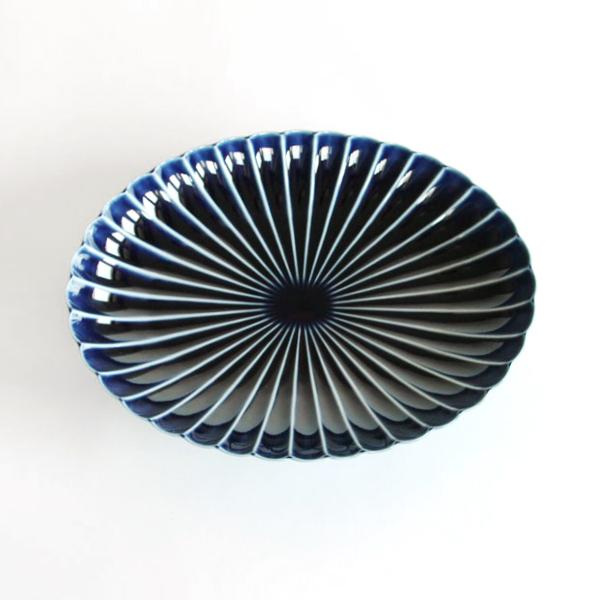 ぎやまん陶 楕円大皿(茄子紺ブルー)