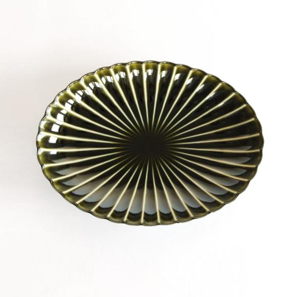 ぎやまん陶 楕円大皿(利休グリーン)