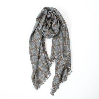WOOL CASHMERE GLEN CHECK STOLE