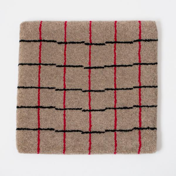 米沢絨毯 チェアラグ(気まぐれ格子赤)