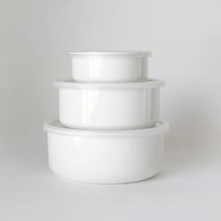Porcelain Enamel Container White Series Round
