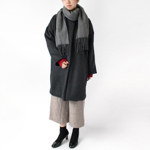 大判ストールもぐるぐる巻きやすいコート(GREY/モデル身長:167cm)