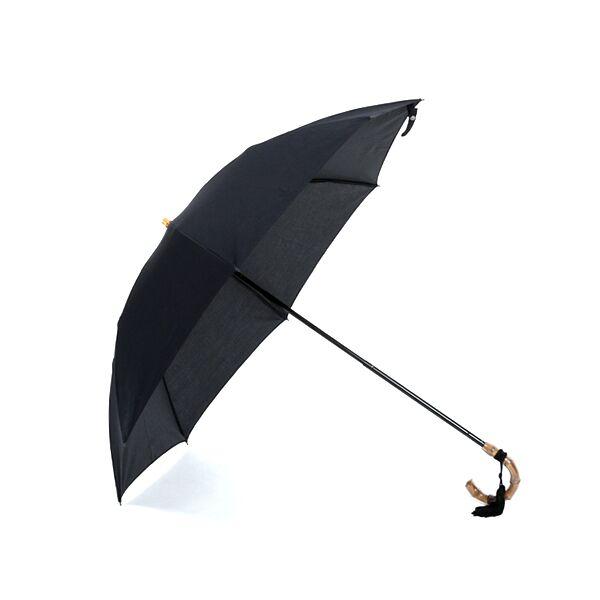 レディース晴雨兼用折畳み傘 コットンピケ BLACK