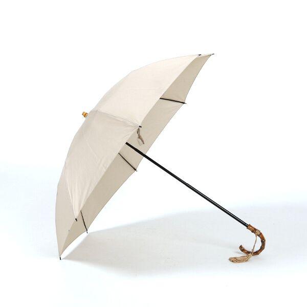レディース晴雨兼用折畳み傘 コットンピケ BEIGE