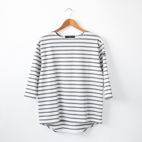 七分袖カットソー(BLANC/GRIS CHINE)