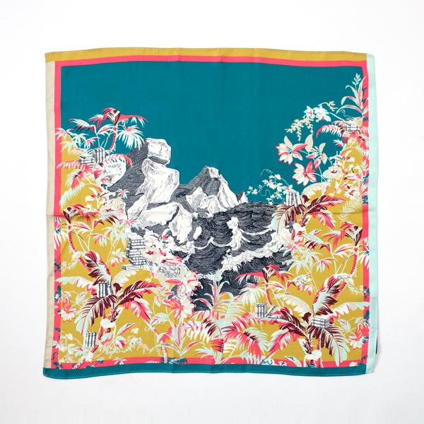 シルクスカーフ OLIVIERA (TURQUOISE)