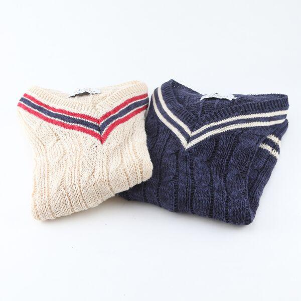 クリケットセーター CREAM OFF WHITE、WEXFORD NAVY