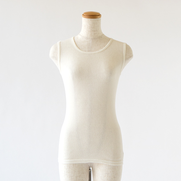 綿ウール丸胴 タンクトップ WHITE