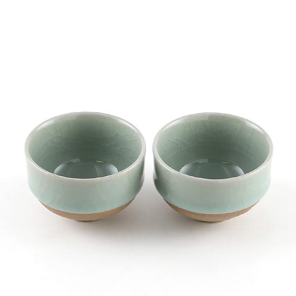 煎茶碗 2個セット(鍋島青瓷貫入)