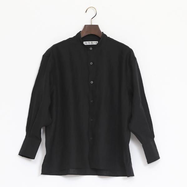 バンドスモックシャツ(LINEN BLACK)