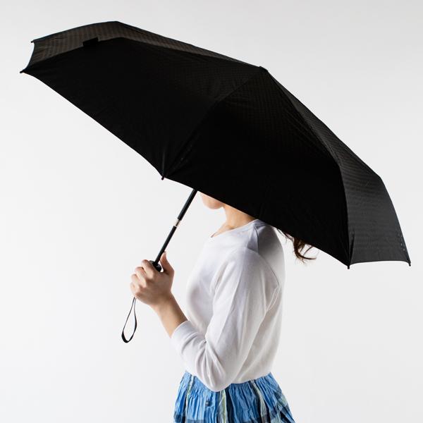 ボタンを押すだけで、瞬時に柄が伸びて傘が開きます(BLACK)