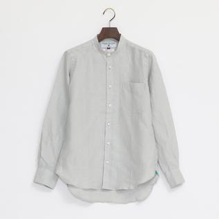 Linen Long Sleeve shirts band collared Pure Grey