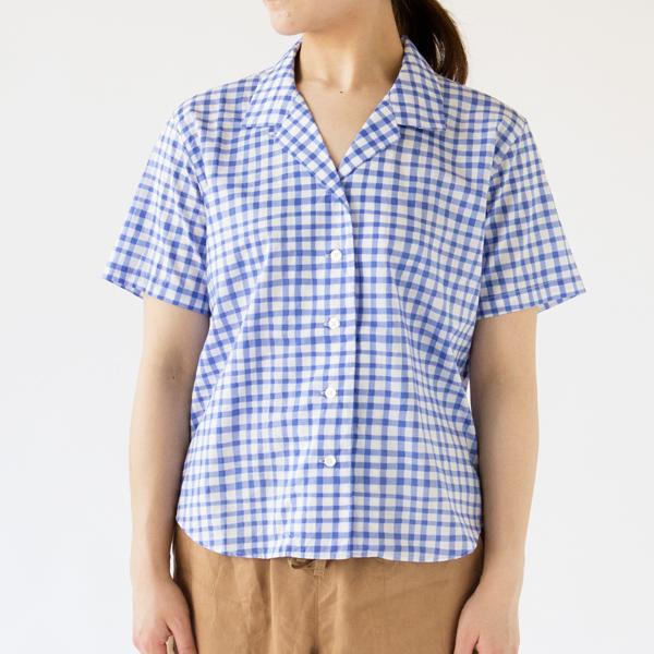 開襟シャツ ギンガムチェック/BLUE(モデル身長162cm)