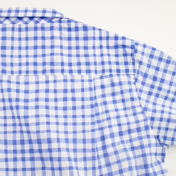 開襟シャツ ギンガムチェック/BLUE