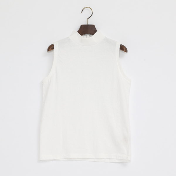 ETHEL モックネックノースリーブスシャツ(WHITE)