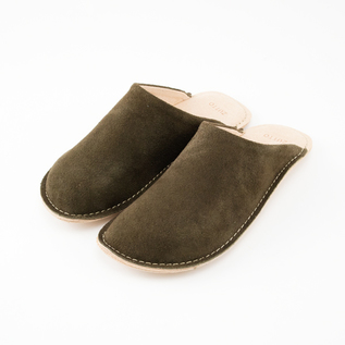 LEATHER ROOM SHOES KHAKI