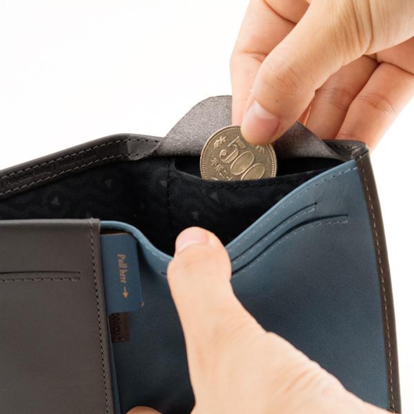 札入れ内側についた、コンパクトなコインポケット(CHARCOAL ARCTIC BLUE)