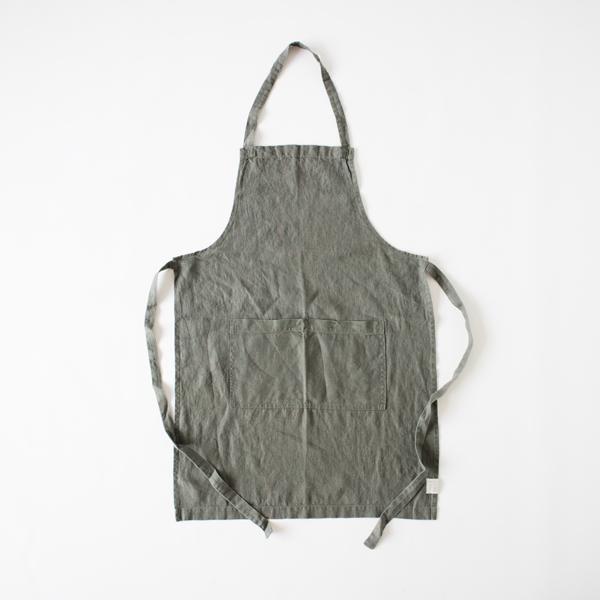 リネンエプロン Regular apron Plain(FOREST GREEN)