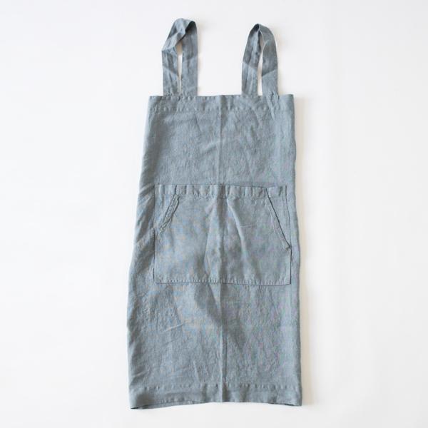 リネンエプロン Pinafore apron Colors(BLUE FOG)
