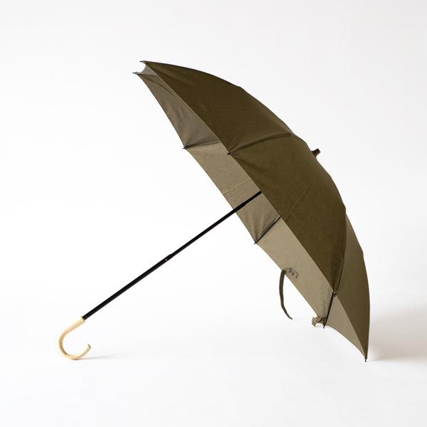 レディース晴雨兼用 綿麻折りたたみ傘 エゴ手元(KAHKI)