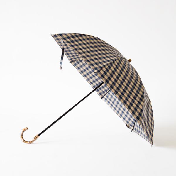 レディース晴雨兼用折りたたみ傘 ギンガムチェック(NAVY×BEIGE)
