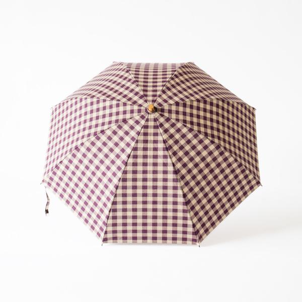 レディース晴雨兼用折りたたみ傘 ギンガムチェック(PLUM×BEIGE)
