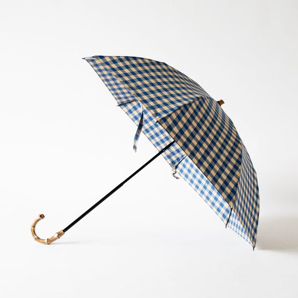 レディース晴雨兼用折りたたみ傘 ギンガムチェック(BLUE×BEIGE)