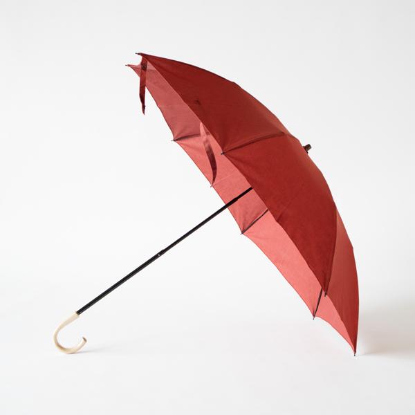 レディース晴雨兼用 綿麻折りたたみ傘 エゴ手元(TERRACOTTA)
