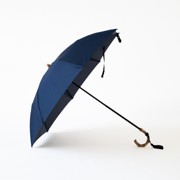 レディース晴雨兼用折りたたみ傘 コットンピケ(NAVY)