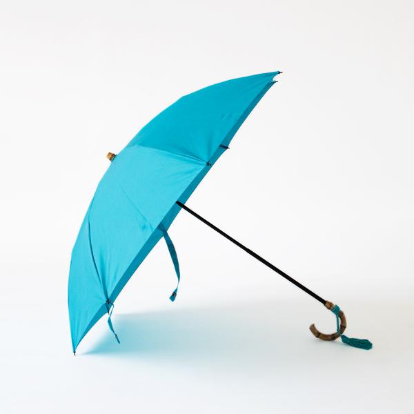 レディース晴雨兼用折りたたみ傘 コットンピケ(TURQUOISE)
