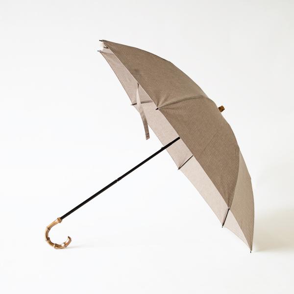 レディース晴雨兼用折りたたみ傘 綿麻ヘリンボーン(BEIGE)