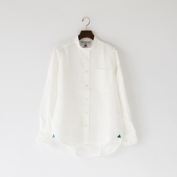 ヘビーリネンロングスリーブシャツ バンドカラー(Ivory)