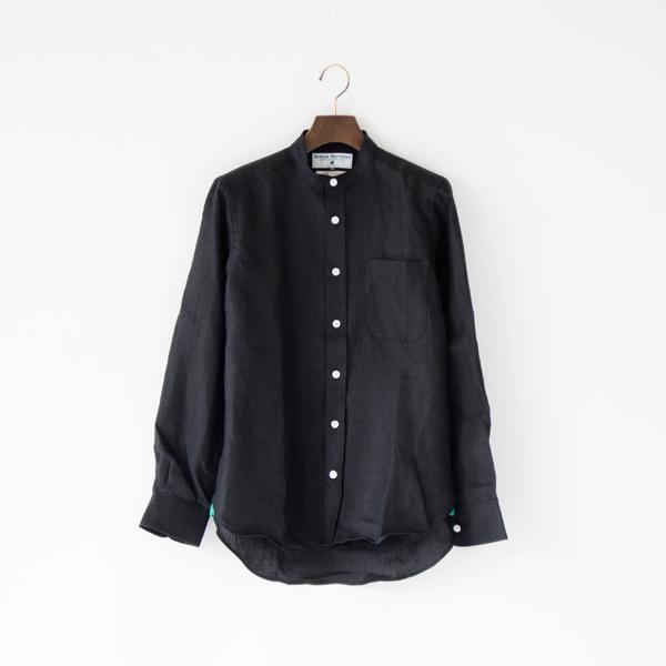 ヘビーリネンロングスリーブシャツ バンドカラー(Black)