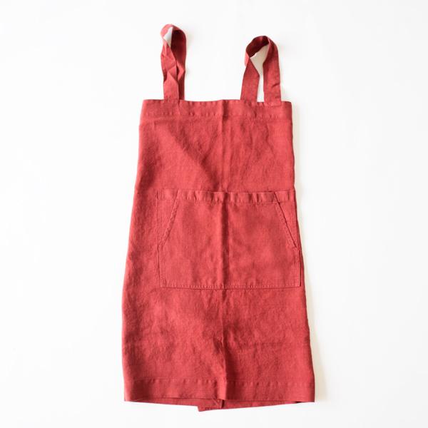 リネンエプロン Pinafore apron Colors(RED PEAR)
