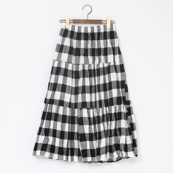 コットンフランネル ティアードスカート(WHITE BLACK)