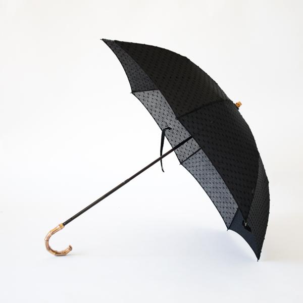 レディース折りたたみ日傘 ドット織(BLACK)