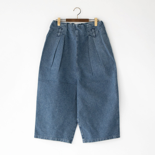 SASHIKO-STYLE DOBBY DENIM WIDE PANTS by tumugu