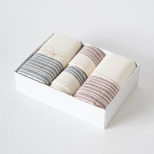 Flax line face and bath towel set B