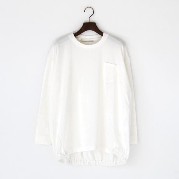 裾ギャザー 長袖Tシャツ(WHITE)