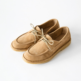 LACE UP MOCCASIN WITH CREPE BEIGE SUEDE