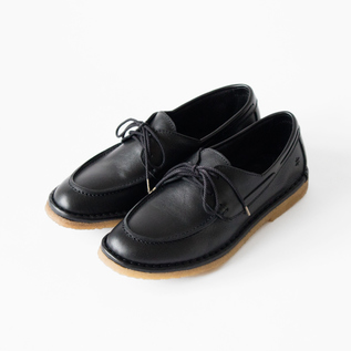 LACE UP MOCCASIN WITH CREPE VEGETABLE NERO