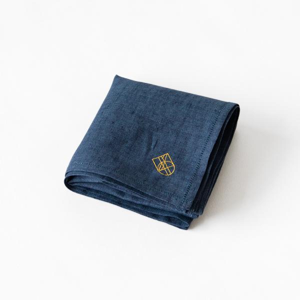 リネン刺繍ハンカチ (NAVY/YELLOW)