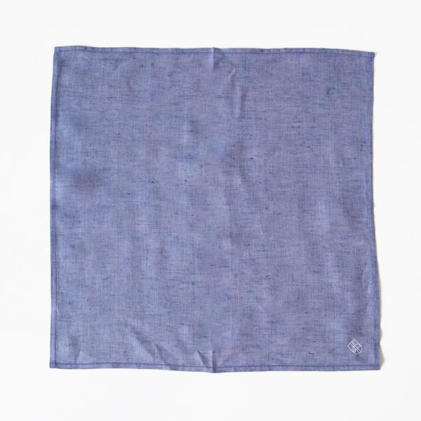 リネン刺繍ハンカチ (BLUE/WHITE)